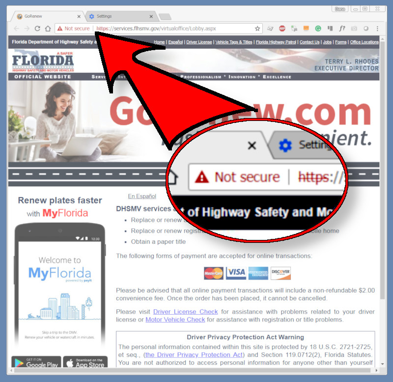 """Is Florida's Highway Safety & Motor Vehicles website """"Not Secure""""?"""